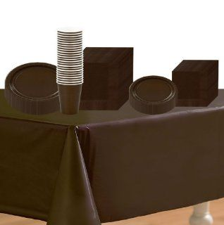 Chocolate Brown (Brown) Deluxe Party Supplies Pack Including Plates, Cups, Napkina and Tablecover   24 Guests Toys & Games