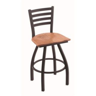 Holland Extra Large 410 Jackie Swivel Counter Stool   25 in.   Black Wrinkle   Medium Oak Seat   Bar Stools