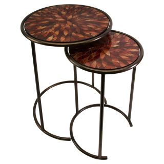 Mashaka Handcrafted Round Mosaic Glass Tables   Set of 2   End Tables