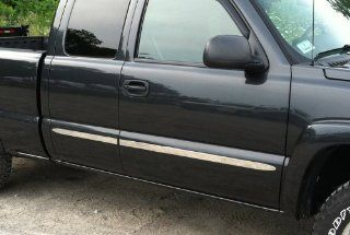 "1999 2006 Chevy Silverado 4Dr Extended Cab Rocker Panel Chrome Stainless Steel Body Side Moulding Molding Trim Cover 1.5"" Wide 4PC Automotive"