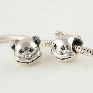 Bear Head Sterling Silver Charm/bead for Pandora, Biagi, Chamilia, Troll and More Bracelets Jewelry