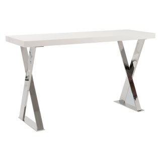 Euro Style Anika Console Table   White/Chrome   Console Tables