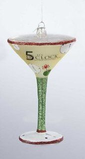 "Happy Hour Mouth Blown Glass ""It's 5 O'Clock Somewhere Tini"" Christmas Ornament   Decorative Hanging Ornaments"