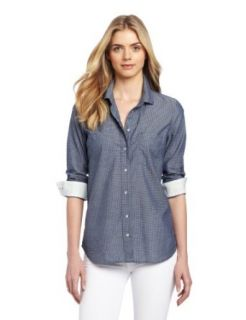 Calvin Klein Jeans Women's Petite Dot Fitted Shirt Button Down Shirts
