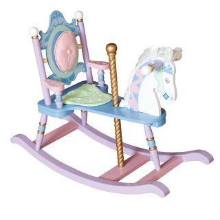 Levels of Discovery Kiddie Ups Carousel Wooden Rocking Horse   Rocking Toys