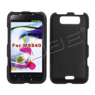 LG Connect 4G 4 G MS840 MS 840 Rare Black Carbon Fiber Pattern Transparent Design Rubber Feel Snap On Hard Protective Cover Case Cell Phone Cell Phones & Accessories
