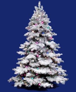 Vickerman Flocked Alaskan Multi Pre lit Christmas Tree   Mini Lights   Christmas Trees