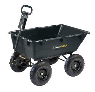 Gorilla Carts GOR866D Heavy Duty Garden Poly Dump Cart with 2 In 1 Convertible Handle, 1, 200 Pound Capacity, 40 Inch by 25 Inch Bed, Black Finish  Yard Carts  Patio, Lawn & Garden
