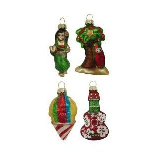 Hawaiian Christmas Ukulele, Hula Girl, Palm Tree, Shave Ice Mini Glass Ornaments   Set of 4   Decorative Hanging Ornaments