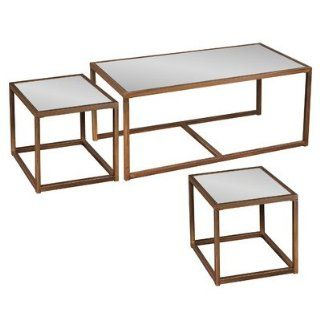 Marseille 3 Piece Nesting Coffee Table Set   Square Glass Cocktail Table