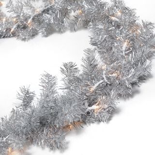 Classic Silver 9 ft. Pre lit Garland   Christmas Garland