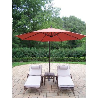 Oakland Living Elite Cast Aluminum Chaise Lounge Chat Set with Cantilever Umbrella   Outdoor Chaise Lounges