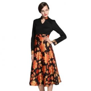 New Women's V neck Standing Collar Jacquard Floral Slim Midi Dress (S)