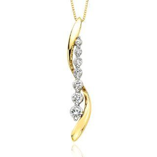 "14K Two Tone Gold 1/2 ct. Diamond ""Journey of Love"" Pendant with Chain Katarina Jewelry"