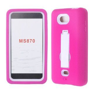 For Lg Spirit Ms 870 Hot Pink Skin White Snap Stand + Hybrid Rubber Hard Snap On Case Accessories Cell Phones & Accessories