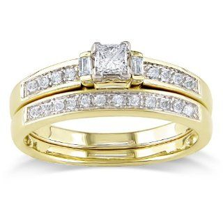 14k Yellow Gold Diamond Wedding Ring Set (0.3 Cttw, G H Color, I1 Clarity) Wedding Ring Sets Jewelry