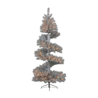7 ft. Silver White Spiral Dura Lit Christmas Tree   Christmas Trees