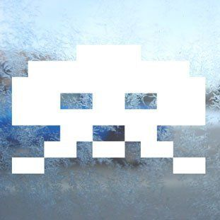 Space Invader White Decal Wii Car Window Laptop White Sticker   Themed Classroom Displays And Decoration