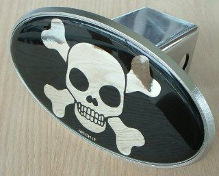 Skull & Crossbones Chrome Look Trailer Hitch Cover Plug for Cars, Trucks, SUVs Automotive
