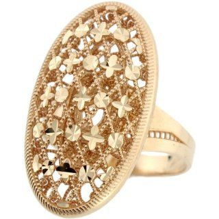 10k Real Yellow Gold Oval Filigree Diamond Cut Unique Design Ring Jewelry