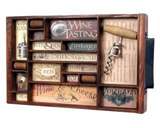 Vintage Wine Collage Antique Style Shadow Box