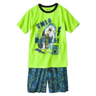 Cherokee Boys 2 Piece Lion Short Sleeve Tee and Short Pajama Set   Lime M