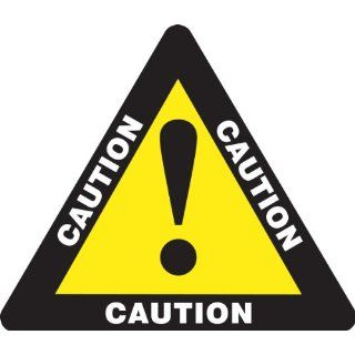 "Accuform Signs PSR860 Slip Gard Adhesive Vinyl Triangle Shape Floor Sign, Legend ""CAUTION"", 17"" Length, White/Black on Yellow Industrial Floor Warning Signs"