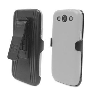 Samsung Galaxy S III White Cover Case + KickStand Belt Clip Holster + Naked Shield Screen Protector Cell Phones & Accessories