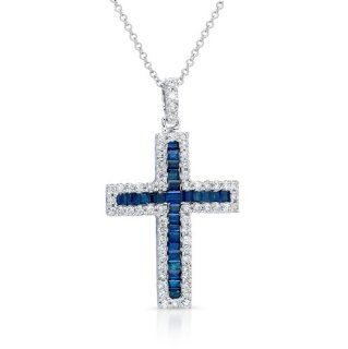 14k White Gold 0.48 Ctw Blue Sapphire Diamonds Cross Pendant Necklaces Jewelry