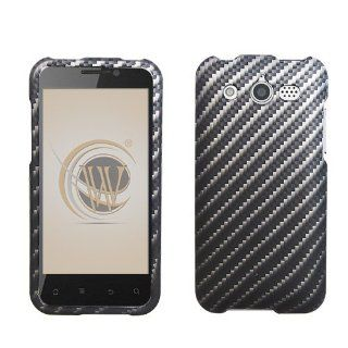 Huawei Mercury M886 Rubber Feel Hard Case Cover   Carbon Fiber Design Cell Phones & Accessories