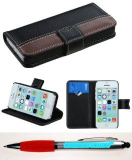 Accessory Factory(TM) Bundle (the item, 2in1 Stylus Point Pen) APPLE iPhone 5C Black Dark Brown Book Style MyJacket Wallet (with Black tray & card slot)(862) (with Package) Cell Phones & Accessories