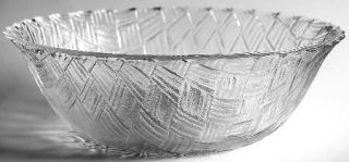 Indiana Glass Weavetex Clear Round Bowl   Clear,All Over Basketweave,No Trim