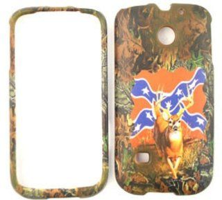 Huawei Ascend 2 M865 Camo / Camouflage Hunter Series, Deer on Rebel Flag Hard Case/Cover/Faceplate/Snap On/Housing/Protector Cell Phones & Accessories