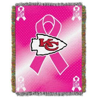 NFL Kansas City Chiefs Breast Cancer Awareness Tapestry  Sports Fan Throw Blankets  Sports & Outdoors