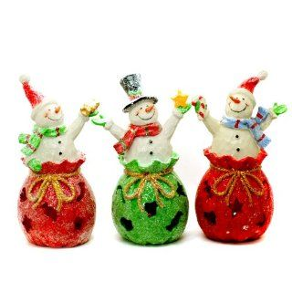 "TII Collections Christmas ""Gift Bag"" Snowman LED Lighted Figurines With Gifts Shaped Light Effects Set of 3 Snowman Figurines   Holiday Figurines"