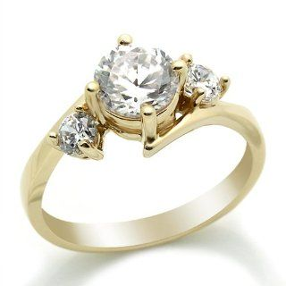 14K Engagement & Wedding Ring 1.4ctw CZ Cubic Zirconia Three Stone Yellow Gold Ring Jewelry