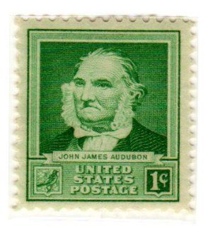 Postage Stamps United States. One Single 1 Cent Bright Blue Green, Famous Americans Issue, Scientists, John James Audubon Stamp, Dated 1940, Scott #874.
