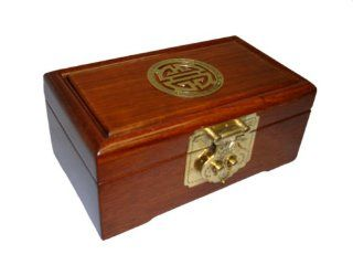 "Chinese rosewood jewelry box chest with asian carving and brass accents, 7""x4""x2.875""   Jewlry Boxes"