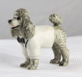POODLE Gray n White Tux Stands SUPER MINIATURE Figurine Porcelain KLIMA L898F   Collectible Figurines