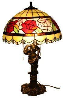 "Tiffany Style 16"" Two Light Rose Table Lamp with Beauty Base 906 16BT   Household Lamp Sets"