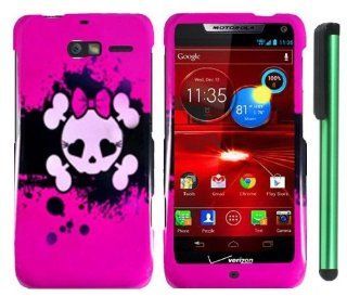 "Pink Black Heart Love Eye Cute Skull Premium Design Protector Hard Cover Case for Motorola DROID RAZR M XT907 (Verizon) + Combination 1 of New Metal Stylus Touch Screen Pen (4"" Height, Random Color  Black, Silver, Hot Pink, Green, Light Green, Red, Bl"