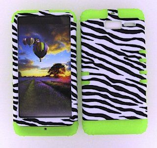 MOTOROLA DROID RAZR M XT907 NON SLIP BLACK WHITE ZEBRA HEAVY DUTY CASE + LIME GREEN GEL SKIN SNAP ON PROTECTOR ACCESSORY Cell Phones & Accessories