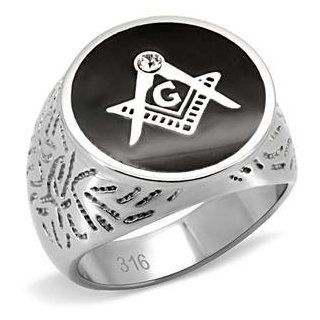 Men's Stainless Steel Onyx Masonic Ring Jewelry