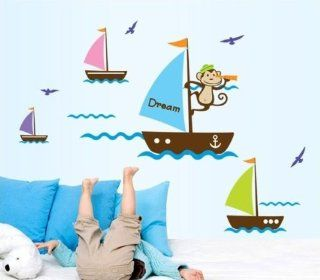Createforlife Home Decoration Art Vinyl Mural Wall Sticker Decal Blue Dream Boat Monkey Decal Paper   Baby Boy Wall Sea Decorations