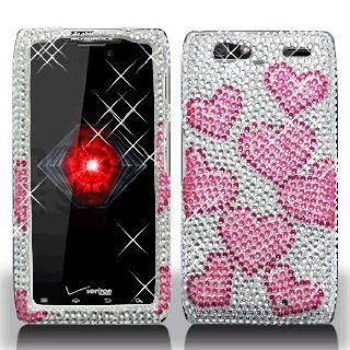 Motorola Droid RAZR Maxx XT916 XT 916 Cell Phone Full Crystals Diamonds Bling Protective Case Cover Silver with Pink Love Hearts Design Cell Phones & Accessories
