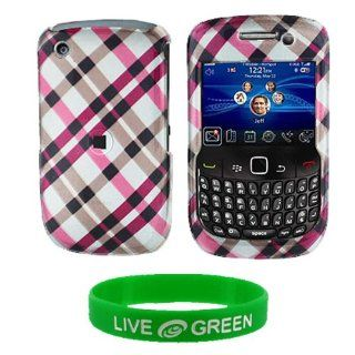 Pink Plaid Design Snap On Hard Case for RIM BlackBerry Curve 8520 8530 Phone, T Mobile Cell Phones & Accessories