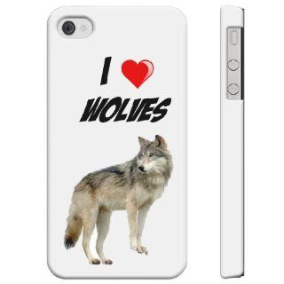 SudysAccessories I Love Heart WLVES iPhone 4 Case iPhone 4S Case   SoftShell Full Plastic Direct Printed Graphic Case Cell Phones & Accessories