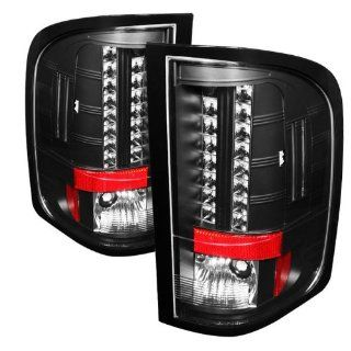 Chevy Silverado 1500/2500/3500 09 10 (With Two Reverse Socket 921 Bulb) LED Tail Lights   Black Automotive