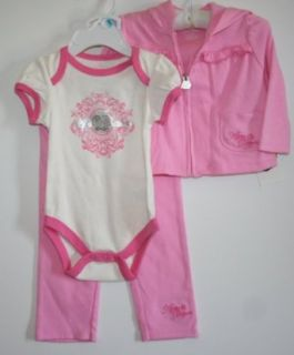 Apple Bottoms Baby/Infant Girl's 3 Piece Pant Set   Size 3 6 Months, Rosy Pink Clothing