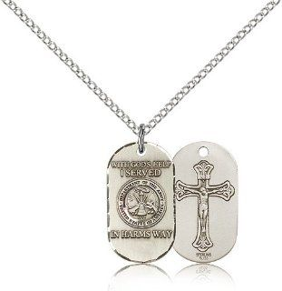 .925 Sterling Silver Army Soldier Gift Medal Pendant 3/4 x 3/8 Inches  M24  Comes with a .925 Sterling Silver Lite Curb Chain Neckace And a Black velvet Box Jewelry